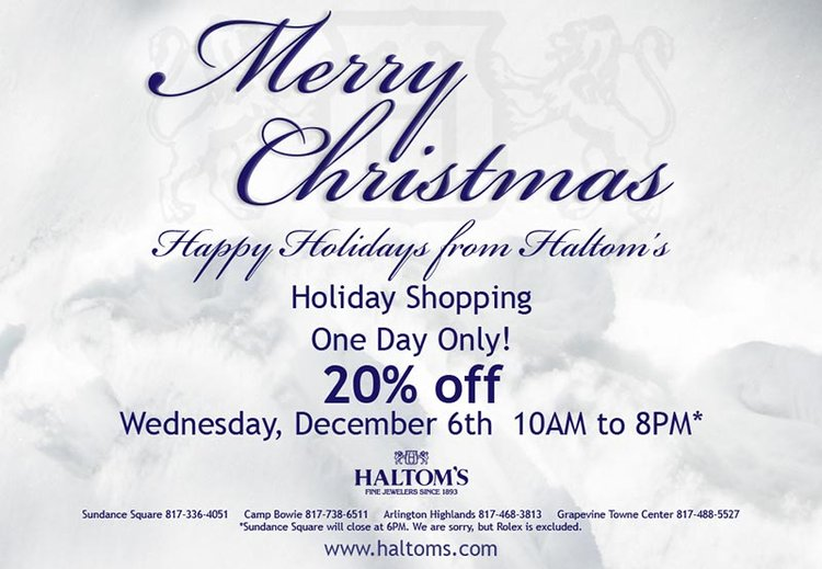 One Day Only!  20% Off at Haltom's